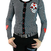TOO FAST PIN UP TATTOO PUNK EMO ROCKABILLY SWEATER SHIRT CARDIGAN GOTH RETRO S M