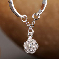 Cute 925 Silver Open Ring with Little Rose Pendant   shopcomely