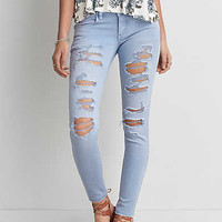 AEO Twill X Super Low Jegging , Blue