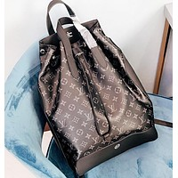LV Louis Vuitton Fashion New Monogram Leather Bucket Bag Shopping Leisure Backpack Bag Crossbody Bag Black