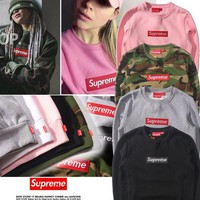 Supreme Fashion Embroidery Long Sleeve Cotton Top Sweater Pullover