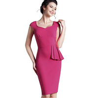 Nice-forever New Lady Sweat-heart Back V Neck Gather Knee length sleeveless Business Office Casual Midi Pencil Dress B292