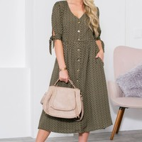 Polka Dot Button Up Pocket Dress