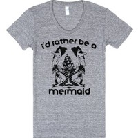 I'd Rather Be A Mermaid-Female Athletic Grey T-Shirt