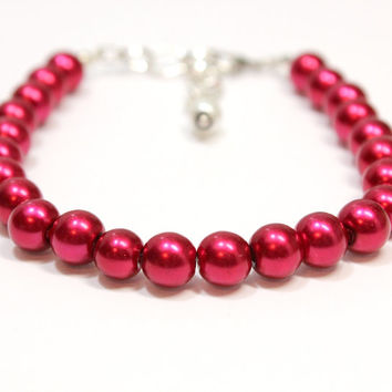 Large Red Dog Cat Pearl Collar.  Metallic Red Pet Jewelry for Special Occassions. Glass Pearl Bead Pet Bling. Kitten or Puppy Accessories