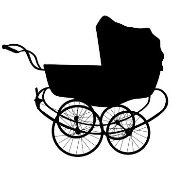 Black Vintage Baby Carriage Waterproof Temporary Tattoos Lasts 3 to 4 days Choose Small, Medium or Large Sizes