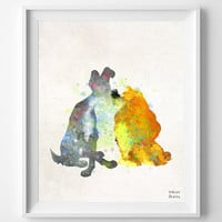 Lady and the Tramp Disney Print Watercolor, Poster, Art, Illustration, Watercolour, Giclee Wall, Kid Nursery, Cartoon, Home Decor [NO 276]
