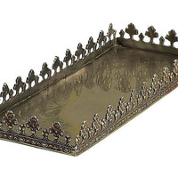 Dessau Home Antique Silver Rectangular Footed Fan Leaf Tray - W525