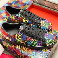 GUCCI New fashion multicolor more letter print couple shoes Black