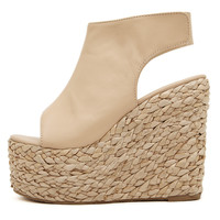 Lisa Straw Wedge Platform Heels