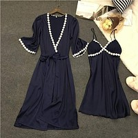 Women 2 Piece Silk Night Gown And Robe Set With Lace Trimming