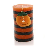 Halloween STRIPED CANDLE WITH PUMPKIN Wax JOL Orange Luminary Ta199