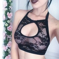 NEW Keyhole black lace handmade halter bralette crop top from Amme B's