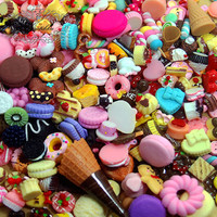 Mix Diy Starter Assortment Kits: 25 PCS Cute Deco Sweets Cabochons -Chocolate Cake Food Cookies Ice Cream Cone Waffle Assorted Set (AK.SW)