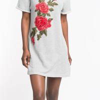 OVERSIZE FLORAL EMBROIDERED SWEATER DRESS