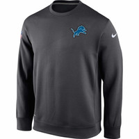 Detroit Lions Nike KO Chain Fleece Crew Pullover Performance Sweatshirt – Charcoal