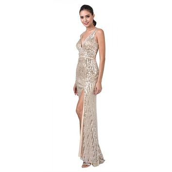 Cut-Out Back Long Prom Dress with Slit Champagne