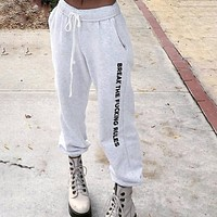 From Winter Women Autumn Elastic Long Pants Letters High Belt Print With Rope Women's Pants Streetwear Fashion Pants