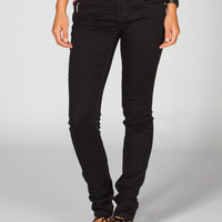 Almost Famous Cross Zip Womens Skinny Jeans Black  In Sizes