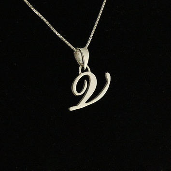 Sterling Silver Initial Necklace Customize letters monogram personalized necklace pendant with sterling silver chain