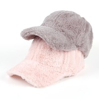Faux fur baseball cap hat