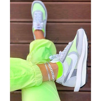 Sacai X Nike LVD WAFFLE joint deconstruction hit color running shoes White
