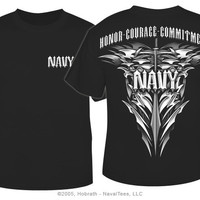"""NavyChief.com: """"Navy Honor-Courage-Commitment"""" T-shirt, Black"""