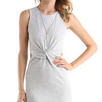 GREY KNOTTED BODY CON TANK DRESS