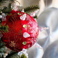 Christmas Ornament, Red Ball with Green & Pearl Accents in Gift Box, Handmade Fabric Tree Decoration, Holiday Decor, Boxed Wrapped Present