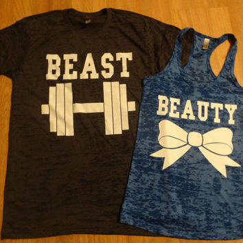 Free/Fast Shipping for US Beauty And The Beast Burn Out Tee and Tank.Black and Royal Blue( White  Decal)