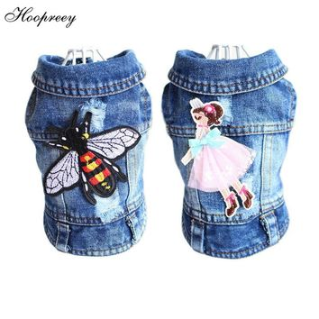 Embroidery Design Cat Dog Clothes Denim Pet Puppy Vest Cowboy Clothing for Small Dogs Chihuahua Teddy Costume Bee Fly Dog Jacket