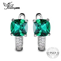 Cushion 3.1ct Created Green Emerald Clip Earrings 100% Real 925 Sterling Silver Charms Fine Jewelry For Women