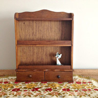 Vintage Wooden Spice Rack Drawers Wall Hanging