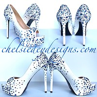 Glitter Peep Toe Pumps - Something Blue Wedding Open Toe - Rhinestone High Heels