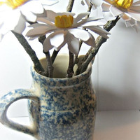 Bouquet of 10 large handmade white flower paper daisy's with natural twig stems