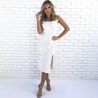 Sculpted Rose Petal White Dress