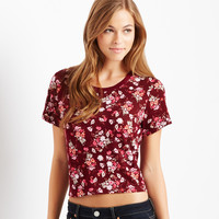 Aeropostale  Map to Mars Floral Boxy Crop Tee