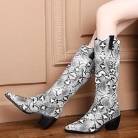 Ladies Western Cowboy Boots Snake Leather Cossacks Cowgirl Boots Pointed Toe Chelsea Boots Shoes Women Plus Size 43