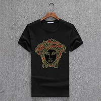Versace Women or Men Fashion Casual Letter Pattern Embroidery Shirt Top Tee