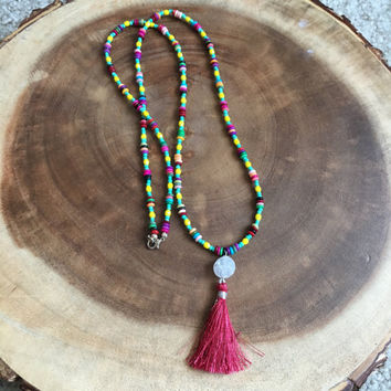 Tassel Necklace, Colorful Necklace, Long Necklace, Turquoise Necklace, Yellow Necklace, 33 Inch Necklace, Druzy Necklace, Womens Necklace