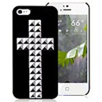 Black with Silver Cross Hard iPhone 5 & 5S Case