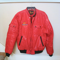Vintage Super Chevy Racing Jacket, Puffy Jacket, 1990 Racing Jacket, Red Race Jacket, Chevy Race, Chevy Show, Embroidered Racing Jacket