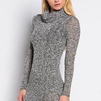 Cowl Neck Knit Mini Dress - Grey