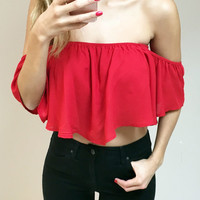 Off Shoulder Crop Top