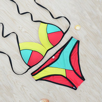 Patchwork Bathing Suit Women Swimwear Bikini