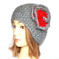 Beanie hat with flower knitted medium gray and red 100% wool grey beanies with flowers for women adults teenagers Irish chunky knit hats