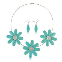 Zlyc Women's Turquoise Daisy Flower Pendent Statement Bib Summer Necklace Set with Drop Earrings