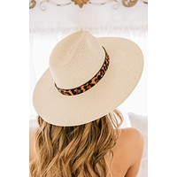 Spot The Sunrise Wide Brim Straw Hat (Ivory/Leopard)