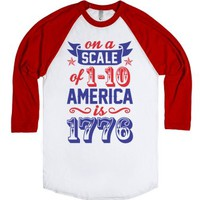 America Is 1776-Unisex White/Red T-Shirt