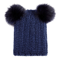 Mimi Knit Hat with Fur Pompoms, Navy - Eugenia Kim - Navy